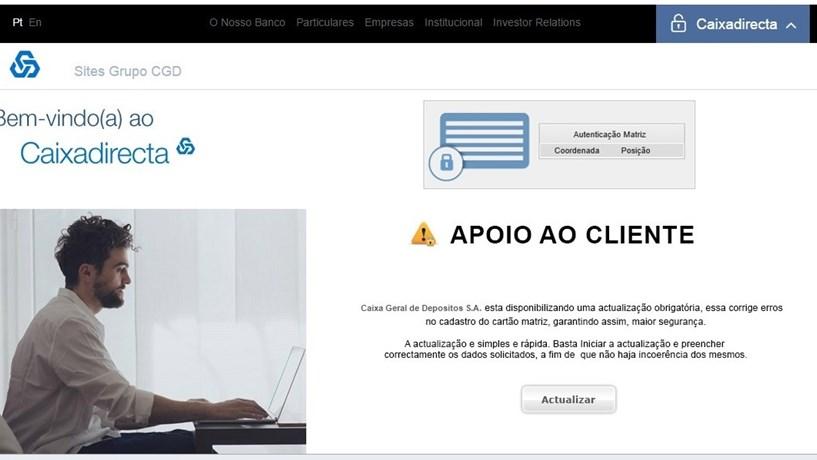 O e-mail fraudulento que está a ser enviado aos clientes da CGD