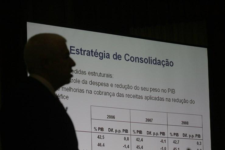 """OE2008: O desafio de Teixeira dos Santos - O objectivo desse OE para 2008 é baixar o défice para 2,4%, mas o Governo é menos corajoso na redução da despesa pública. O elevado desvio face ao projectado no ano anterior terá justificado a menor ambição. Confrontado pelos jornalistas na conferência de imprensa, o ministro levantou a voz: """"Desafio qualquer um a mostrar uma consolidação desta magnitude neste contexto económico."""" O ano de 2008 terminou com um saldo orçamental negativo de 3,8%."""
