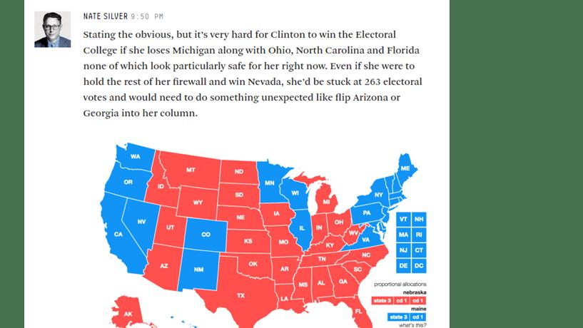 Nate Silver: sem Michigan, a vida de Clinton fica muito difícil
