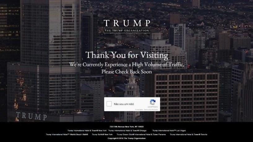 Site da Trump Organization colapsou