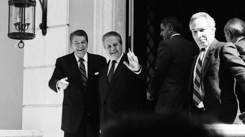 O Presidente norte-americano, Ronald Reagan, com o então primeiro-ministro, Mário Soares, no Palácio de São Bento. Em 1985.