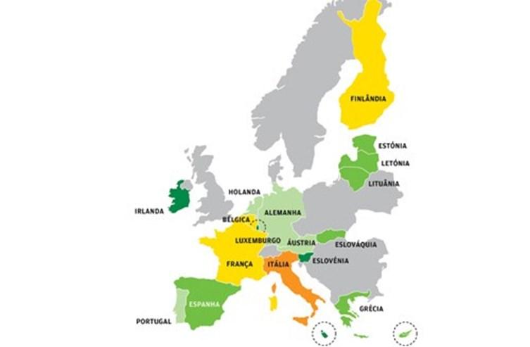Mapa: as previsões de Bruxelas para os países da Zona Euro