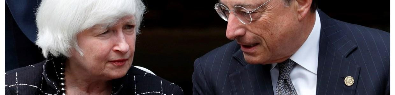 Yellen deixa bolsas no vermelho e Draghi põe euro em máximos