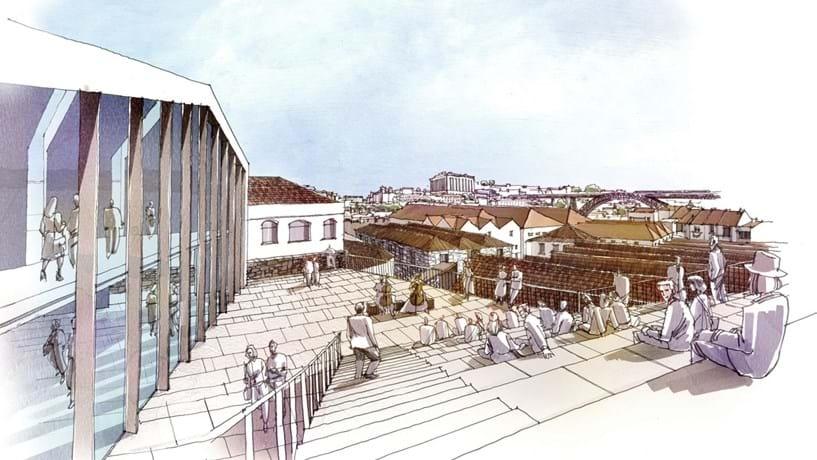 A praça central do World of Wine, com vista para a ponte de D. Luís, poderá ser usada para eventos. O projecto inclui um parque de estacionamento subterrâneo para 150 carros.