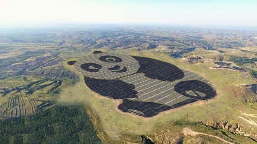 Novo parque solar chinês tem a forma de um panda