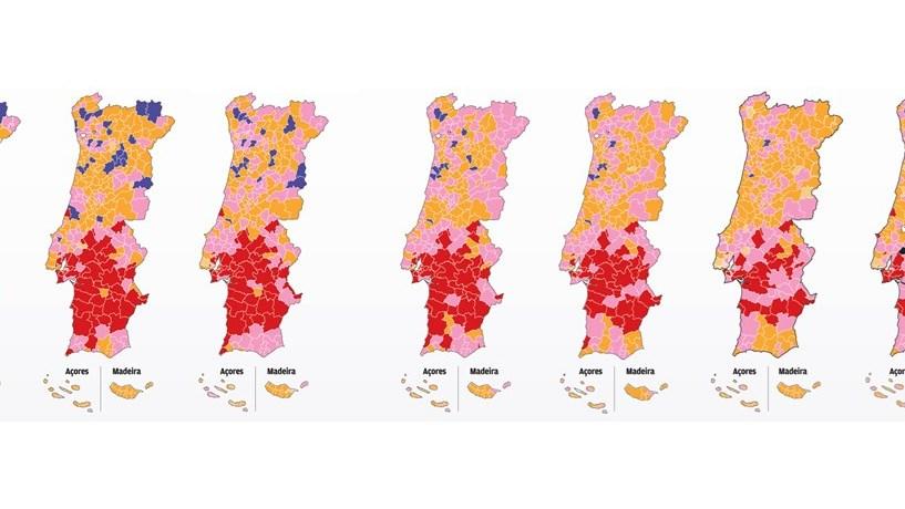 mapa de portugal 2013 As cores políticas que pintam o mapa autárquico desde 1976  mapa de portugal 2013