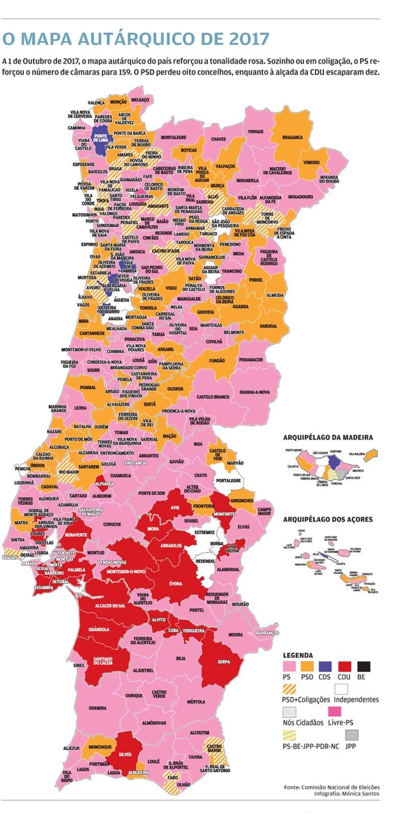 mapa concelhos Nunca o PS teve tantas câmaras   Política   Jornal de Negócios mapa concelhos