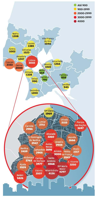 Mapa De Precos Medianos Por M2 Na Zona De Lisboa Portugal